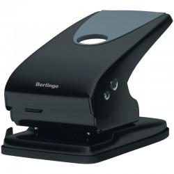 """Дырокол BERLINGO """"Office Soft"""" на 65л. металл., черный с линейкой (DDm 65168)"""