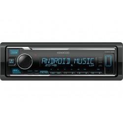 Автомагнитола Kenwood KMM-125 1DIN, 4x50Вт, MP3, FM, USB, AUX, съемная панель