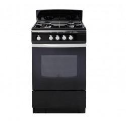 Плита газовая De luxe 5040.38г(щ) Black 4 конфорки газ, духовка 43л, 50x50x85, механ. управл.