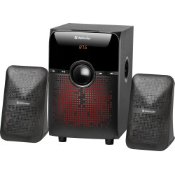 Актив.колонки 2.1 Defender X182 18Вт, Bluetooth, FM, MP3, SD/USB/LED/RC, от сети, MDF/пластик, Black