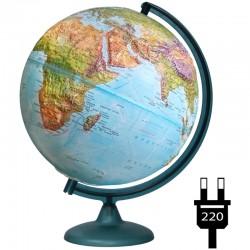 Глобус физико-политический рельефный Глобусный мир, 32см, с подсветкой 10202