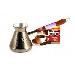 Турка медная LARA LR15-03 640мл <Виноград> деревянная, лакированная ручка с латунным кольцом