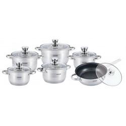 Набор посуды Vissner VS-50622 VALENCIA  12пр,нерж.сталь,4 кастрюли: 2 кастрюли по 2,1л(16см)  2,9л(18см)  3,9л(20см), 6,6л(24см),  сковорода 24 см(7,5 см/3,4 л),для всех типов плит