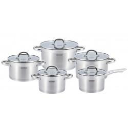 Набор посуды Vissner VS-50523 JOLIE  10пр,нерж.сталь,4 кастрюли: 2,1л(16см)  2,9л(18см)  3,9л(20см), 6,6л(24см), ковш 2,1л(16см),для всех типов плит