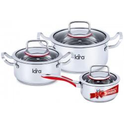 Набор посуды LARA LR02-108 Prima  3 пр. <кастр. 3.0л + 5.0л + сотейник 1,5л > стеклян. крышки