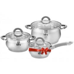 Набор посуды LARA LR02-95 Bell PROMO <8 Марта> кастрюли 2.7л,4.7л + Подарок сотейник 1.7л - LR03-09
