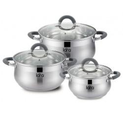 Набор посуды LARA LR02-92 Bell 6 пр, капс. индукц. дно, силикон ручка(кастрюли:1.9л, 3.6л, 6.1л