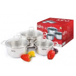 Набор посуды LARA LR02-81 Standart (2.0л + 4.0л + 5.2л) капсулированное индукционное дно, крышки