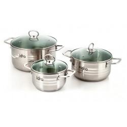 Набор посуды LARA LR02-80 Standart (1.5л + 2.7л + 5.2л) капсулированное индукционное дно, крышки