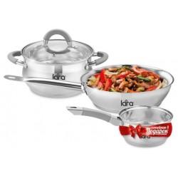 Набор посуды LARA LR02-110 Bell PROMO <8 Марта> кастрюля 4.7л, сковорода 24см +сотейник 1.7л LR03-08