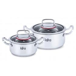 Набор посуды LARA LR02-107 Prima, 2 пр. <кастр. 2.0л + 3,7л > стеклян. крышки