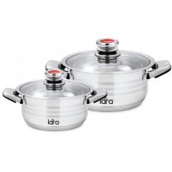 Набор посуды LARA LR02-106 ADAGIO, 2 пр., (кастр. 2.3л + 4.2л ) терморегулятор, индукционное дно