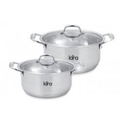 Набор посуды LARA LR02-105 LARA HARMONY, 2 пр., (кастр. 2.3л + 4.2л ) стеклян. крышки капсуль дно