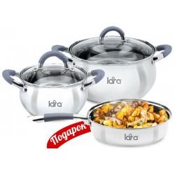 Набор посуды LARA LR02-102 Bell, 3 пр., (кастр. 2.7л + 6.1л + сковорода 24см ) стеклян. крышки