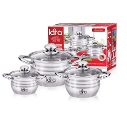 Набор посуды LARA LR02-100 Sonata, 6 пр., (кастр. 2.1л + 3.9л + 6.5л) стеклян. крышки
