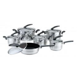 Набор посуды Bekker BK-2710 Premium нерж.сталь,12пр,4кастрюли,ковш,сковорода с а/п покрытием,крышки,нерж.стал