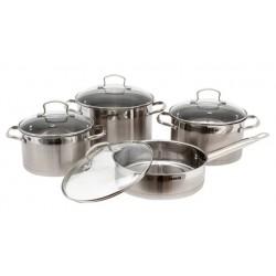 Набор посуды Bekker BK-2574 Premium 8пр,кастрюли:3,5л(20см),4,6л(22см), 5,9л(24см), сковорода 3л(24см), крышки стекл,нерж.сталь