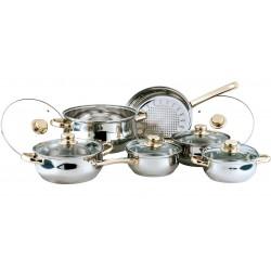 Набор посуды Bekker BK-202 Classic 12пр,кастрюли:1.5л(16см), 2.1л(18см), 3л(20см), 6л(24см), ковш 1,5л(16см), сковорода 2.6л(24см), крышки стекл,нерж.сталь