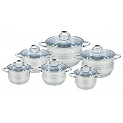 Набор посуды Bekker BK-1588 Premium 12пр,кастрюли:2.1л/16см(2шт.),2.9л/18см,3.9л/20см,6.5/24см,8.2л/26см