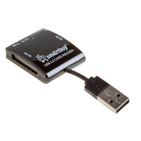 Картридер внешний Smartbuy SBR-713-K черный USB2.0 SD/microSD/MMC/MS