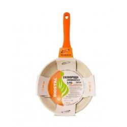 Сковорода Biostal Bio-FP-24 24см,стенки 2мм,дно 4.5мм,алюминий,керам.покрытие,коричневый/бежевый