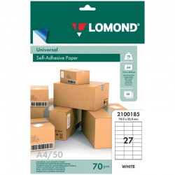 Этикетка самоклеящаяся LOMOND на листе А4 27 шт, 70*32 белая 50л. (2100185)