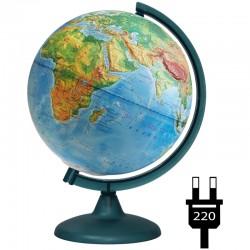 Глобус физический рельефный Глобусный мир, 25см, с подсветкой 10179