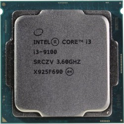 Процессор 1151v2 Intel Core i3-9100 (4ядра/4потока*3,6ГГц-4,2ГГц,6Мб,UHD630,65Вт,oem)