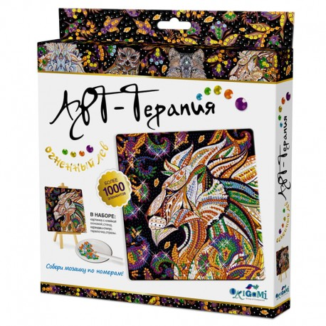 """Алмазная мозаика Origami """"Арт-терапия. Алмазные узоры. Огненный лев"""" 03216"""