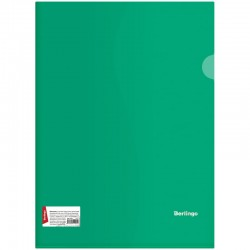 Папка-уголок А4 180мкм. BERLINGO прозрачная, зеленая (AGp 04304)
