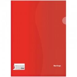 Папка-уголок А4 180мкм. BERLINGO прозрачная, красная (AGp 04303)