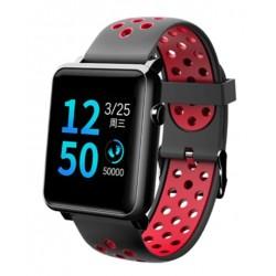 "Смарт-часы Qumann QSW 02 Black+Red 1.3""/And,iOS/Bluetooth 4.0/IP68/160mAh"