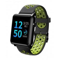 "Смарт-часы Qumann QSW 02 Black+Green 1.3""/And,iOS/Bluetooth 4.0/IP68/160mAh"