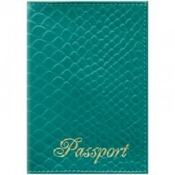 """Обложка для паспорта OfficeSpace """"Питон"""" кожа, бирюза, 254227"""