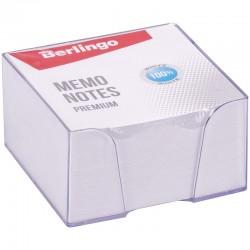 """Блок для записей BERLINGO 9*9*4,5см. """"Premium""""  пластиковый бокс, белый (ZP8607)"""
