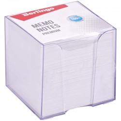 """Блок для записей BERLINGO 9*9*9см. """"Premium""""  пластиковый бокс, белый (ZP8608)"""