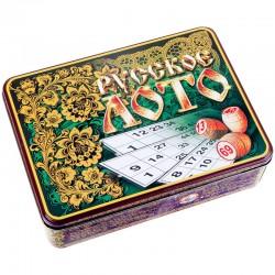 """Игра настольная Лото, Десятое королевство, """"Русские узоры"""", жестяная коробка (01776)"""