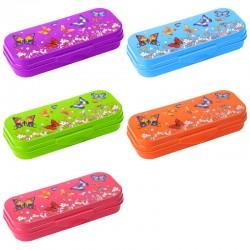Пенал-футляр СТАММ пластик, с рисунком бабочек, непрозрачный, цвет ассорти, ПН110