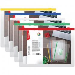 Папка-конверт на молнии А4 150мкм BERLINGO бесцветная (AKm 04109)