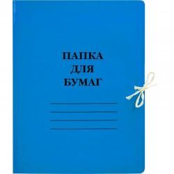 Папка с завязками 300г/м2 мелованная, синяя 113952