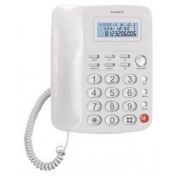 Телефон Texet TX-250 белый (повторн.набор/тон.набор/CallerID/дисплей/часы/термометр)