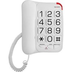 Телефон Texet TX-201 белый повторн.набор/тон.набор/отключение микрофона/большие кнопки