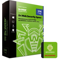 Антивирус Dr. Web® Security Space (3ПК 1год, BHW/AHW-B-12M-3-A3)
