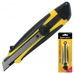 Нож 18мм. BRAUBERG роликовый фиксатор (235402)