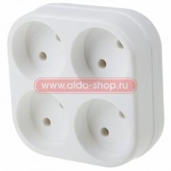 Четверник электрический 6-10 А без заземления белый REXANT