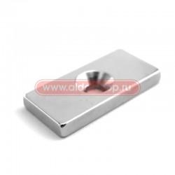 Неодимовый магнитный прямоугольник 20х10х3 мм с зенковкой 6,5х3 мм (упаковка 2 шт.)