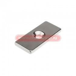 Неодимовый магнитный прямоугольник 35х15х3 мм с двумя зенковками 8х4 мм (упаковка 1 шт.)