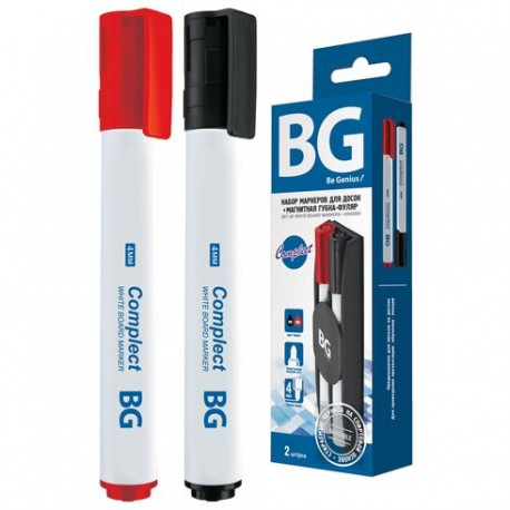 "Набор маркеров для доски BG ""COMPLECT"" 2шт.+ губка (DM n 6178)"