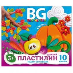 """Пластилин 10цв. BG """"Времена года"""" 200гр. со стеком PL10C 20 4216"""