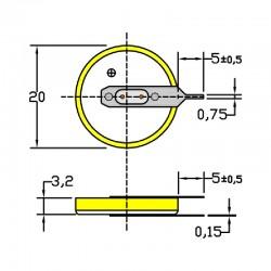 Батарейка CR2032/1VC4, 2 вывода, вертик. расстояние между контактами 3мм 1 шт/3В литиевая